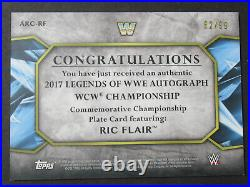 2017 Topps WWE Legends RIC FLAIR Signed Autographed Championship Belt #'d 82/99