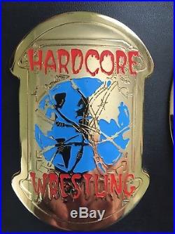 ECW Adult Size Championship Title Belt TAZ Version Metal Plates Wwe Tna ROH Nxt