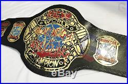 ECW World Wrestling Championship Leather Belt Replica Adult Size, Brass Plates
