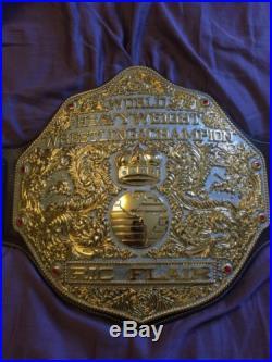Fandu Dual-plated Nickel Big Gold Championship Belt Brown REAL Leather WCW WWE
