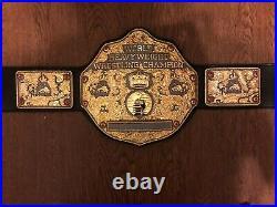 Fandu Gunmetal Big Gold WCW WWE Wrestling Championship Belt & Custom Nameplate