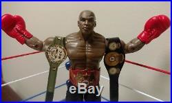Mike Tyson Custom Figure w championship belts WWE Jakks Mattel WBA Punch Out