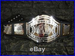 NEW! World Championship Belt Avenger Adult Size Metal Plates Black wwe wwf wcw