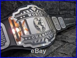NEW World Championship Belt Legend Model Black Strap Adult Metal Plates wwe wwf