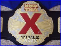NWA TNA X-DIVISION CHAMPIONSHIP METAL REPLICA TITLE BELT SIGNED BY AJ STYLES wwe