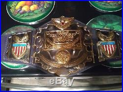 REAL AWA World Championship Belt Stacked plates real leather Zbyzsko version WWE