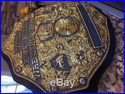 RELEATHERED Fandu Big Gold Wrestling Championship Belt Ric Flair WWE, WCW, WWF