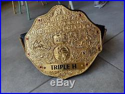 Real 3D WWE Logo Big Gold Heavyweight Championship Belt Triple H WCW Nameplate