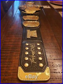 Real WWE WWF Winged Eagle Championship Belt Real Leather Gold American Hogan