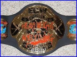 TAZZ & SANDMAN SIGNED ECW WORLD CHAMPIONSHIP TAZ 99 METAL ADULT REPLICA BELT wwe