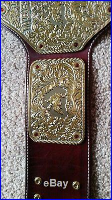 WWE Real Big Gold Championship Cordovan hand stitched Real Leather Belt NWA WCW