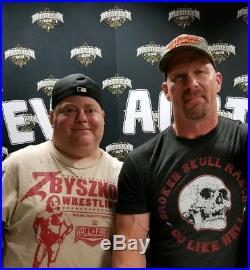 WWE Stone Cold Signed Smoking Skull Championship Replica Title Belt Black COA