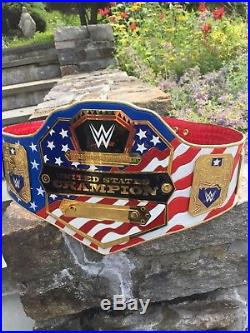 WWE US Championship Wrestling Belt on REAL LEATHER! Adult size, metal plates