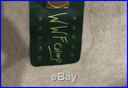 WWE / WWF / WWWF 1983 Championship Belt Big Green Signed By Hulk Hogan