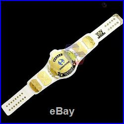 WWE/WWF Winged Eagle Championship Belt Real White Leather Metal Plate Adult Size