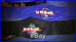 WWE modified NWA Tag Team Championship 2 Belts Metal plates Adult ring used
