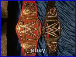 WWE replica adult title belts. Plastic Plates. Black/Red Universal Title