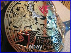 WWF Smoking Skull Championship Belt Real American Made Red Leather WWE Wrestling