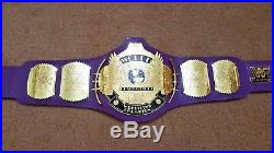 WWF WWE Classic Gold Winged Eagle GOLD PLATED Championship Belt. PURPLE STRAP