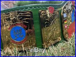 WWF / WWE European Championship Wrestling Belt REAL LEATHER