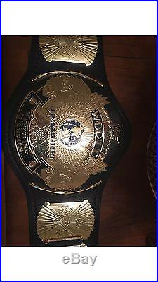 WWF Winged Eagle Heavyweight Championship Belt. On Real Leather Strap Signed WWE